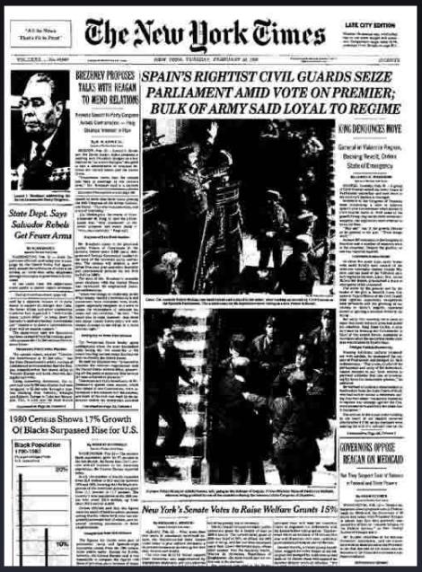 Portada del diario 'The New York Times' facilitada por Cadena SER en su página web.
